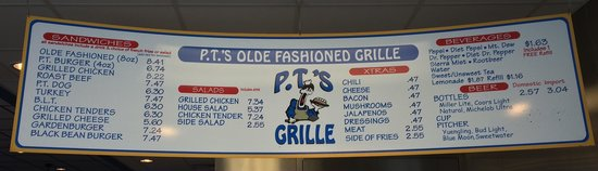 Goldsboro, NC: PTs Grill menu board