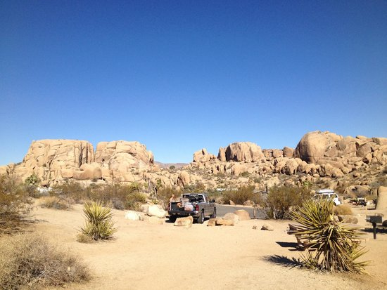 Jumbo Rocks Campground: From Site #74 looking at parking. Enough for 1 vehicle.