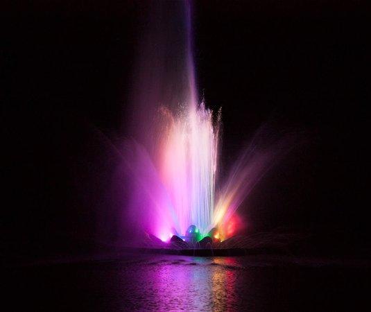 Virginia Lake: The fountain is illuminated at night