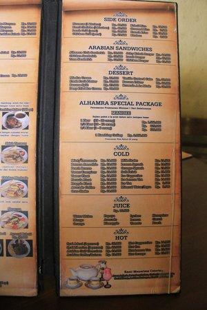 Alhamra: menu