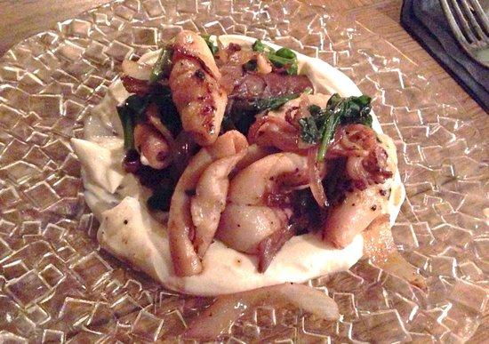 Night Kitchen: Calamari on white cheese - good
