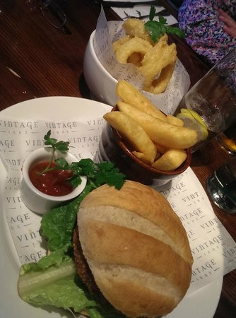 The March Hare: Bean burger and onion rings