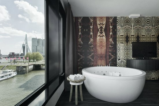 Waterfront spa room jacuzzi and private sauna picture for Mainport design hotel leuvehaven 77 3011 ea rotterdam