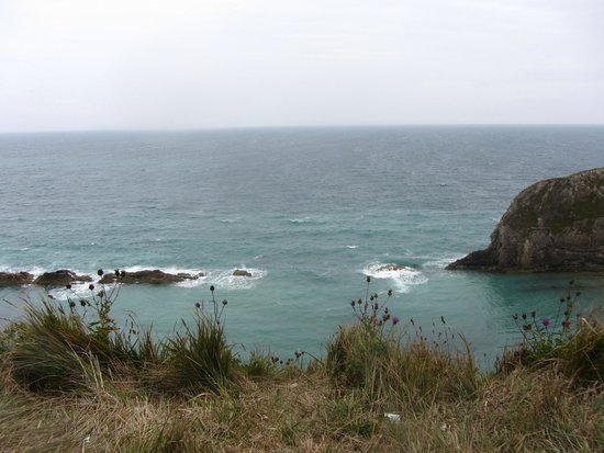 South West Coast Path- Lulworth Cove & The Fossil Forest Walk : sea landscape from the path
