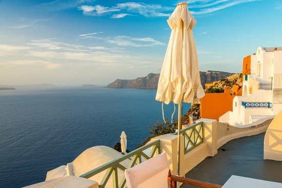 Old Oia Houses: Our Balcony and the stunning view (Looking North)