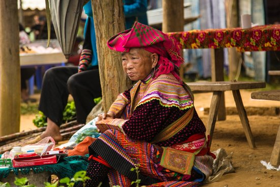 VivuTravel : Old lady at Coc Ly Market