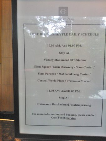Century Park Hotel: Complimentary shuttle service times