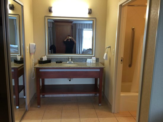 Hampton Inn & Suites Detroit/Chesterfield Township: sink area, toilet and shower are in separate room