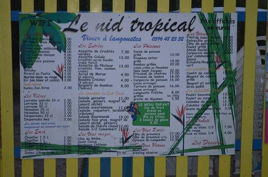 Nid tropical : Le menu