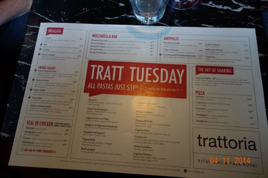 Trattoria : The Tuesday Lunch menu