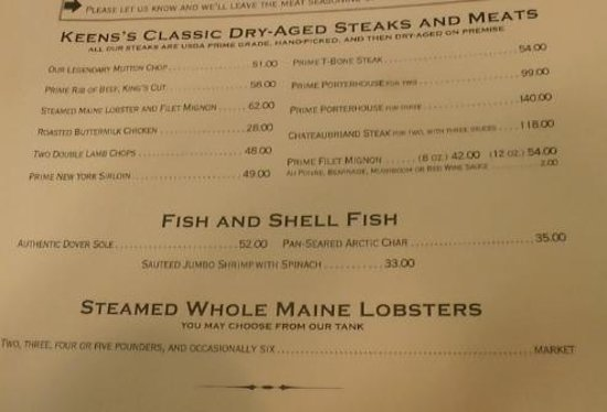 Keens Steakhouse: Menu