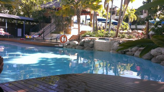 the smaller pool at Mantra Heritage - swim up apartment -go up the stairs to join the main pool