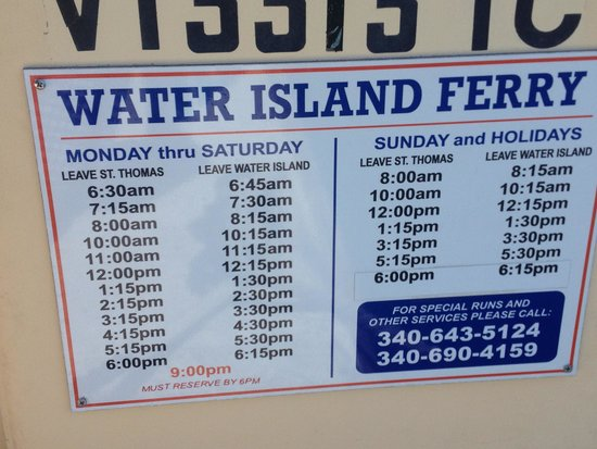 Ferry times to Water Island