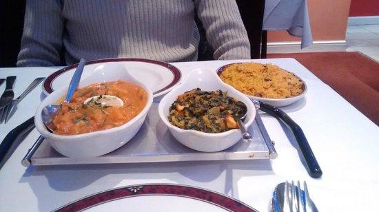 Spice: Dansak veg, sag paneer, and mushroom rice