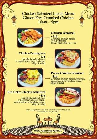 Red Ochre Grill Restaurant Alice Springs: Gluten Free Chicken Schnitzel menu