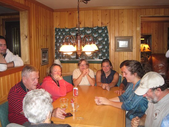 North Shore Lodge: Members of a family reunion gathered in GetAway Suite for games and conversation.