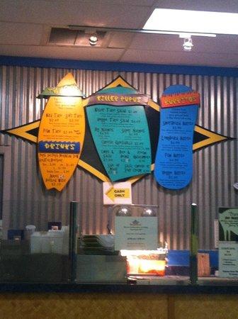 Killer Tacos Incorporated: Wall menu