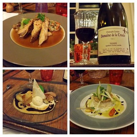 Côté Loire - Auberge Ligérienne : Final Dinner at the restaurant. Clockwise from top left: Guinea fowl in sparkling wine sauce, 20