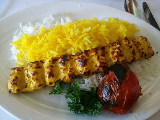 Chicken kabob with basmati rice and a grilled tomatoe for Arya global cuisine cupertino ca