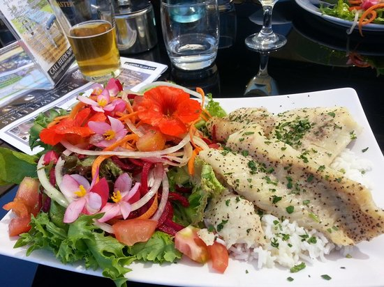 Tahitian fish and salad picture of bedrock tea gardens for Fish and salad
