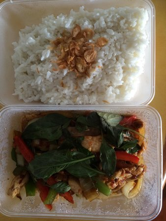U Village : Wok Cashew Basil Chicken c Coconut Rice $20