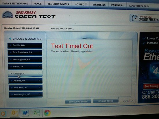 internet to slow to test the speed