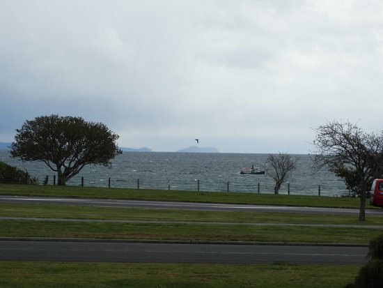 Le Chalet Suisse Motel: view of lake Taupo from downstairs room