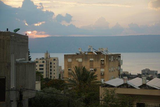 Arcadia Hotel Tiberias : widok na Jezioro Galilejskie