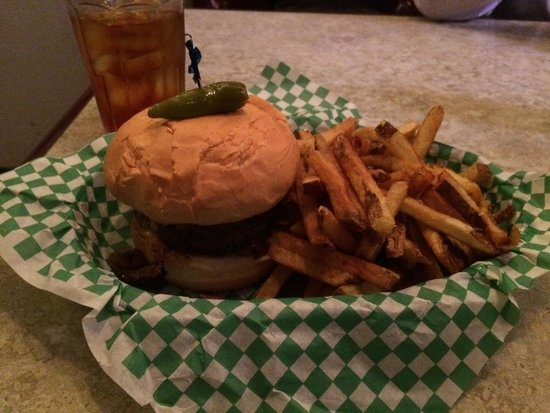 Casper & Runyon's Nook: Beef and spicy pork juicy lucy with grilled onions