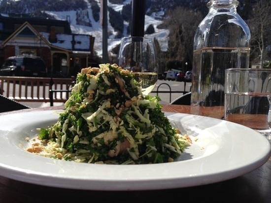 Kale salad glass of wine great service and amazing view