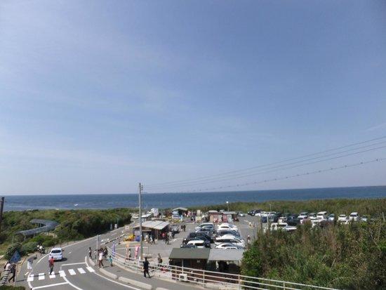 Tsunoshima Lighthouse Park: 駐車場と、その中にある売店でイカ焼きを売っています