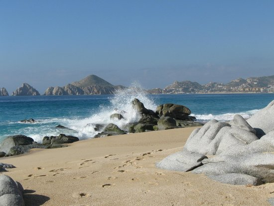 View of the Arch & Land's End from the far end of Medano Beach