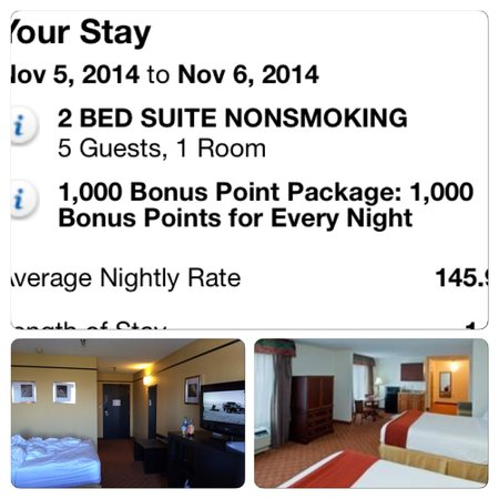 Holiday Inn Express Hotel & Suites Shelbyville: What I was sold vs what I got. A room that, as their site states, holds 5 and the room that I go