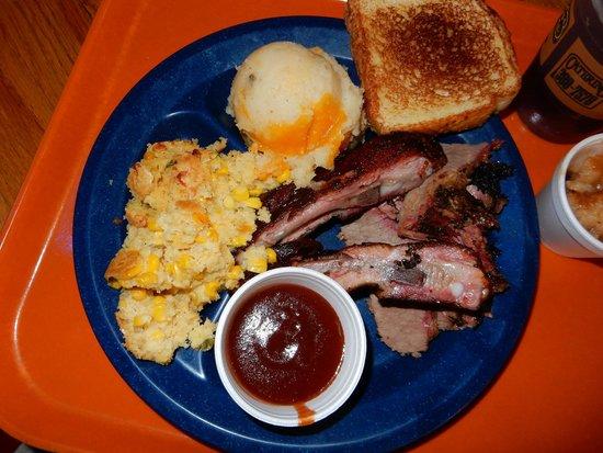 Pok-e-Jo's Smokehouse : ribs, brisket, jalepeño cornbread casserole, baked potato casserole