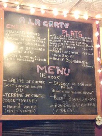 Le Café de Paris : this is the menu