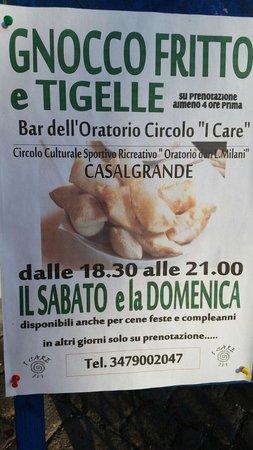 Casalgrande, อิตาลี: Sabato e domenica ....gnocco e tigelle d'asporto