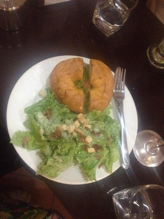 Joma Bakery Cafe : Smoked salmon and cream cheese bagel with Caesar salad