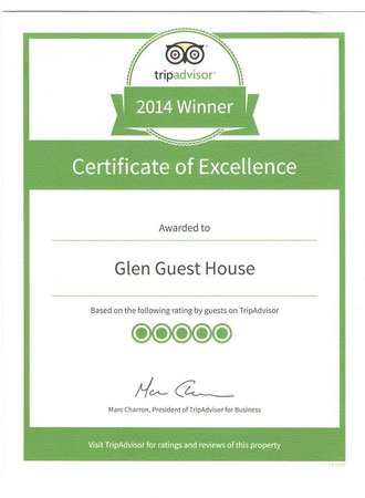 Glen Guest House : Certificate of Excellence 2014