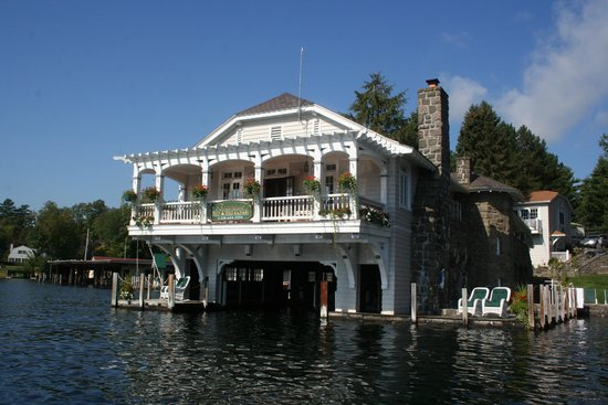 Boathouse Bed and Breakfast A Lake Castle Estate on Lake George : View of the Boathouse from the Lake