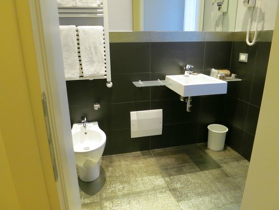 Boutique Hotel Calzavecchio: The amazing silver floored bathroom