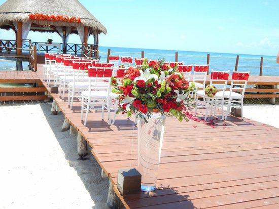 Secrets Silversands Riviera Cancun Wedding Set Up On The Pier