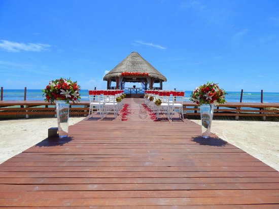 Secrets Silversands Riviera Cancun Full Pier Wedding Shot