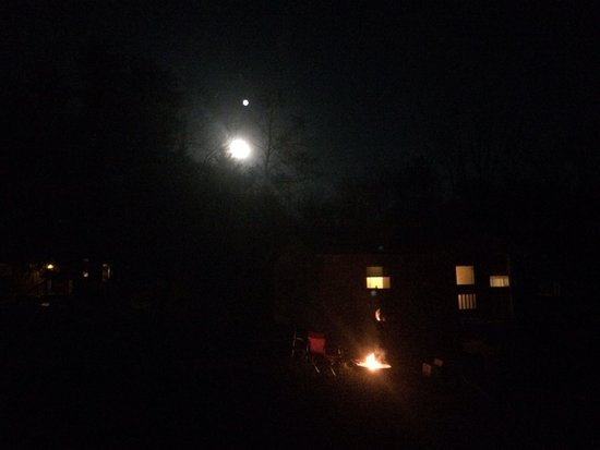 Hueston Woods Lodge and Conference Center : Cabin and fire ring under the moon