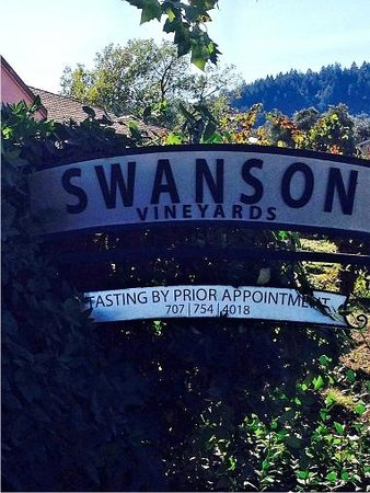 Swanson Vineyards Salon: Gate sign is easy to miss on small side street