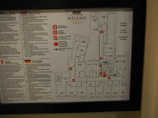 Hotel Milano & Spa : 2階(ヨーロッパでは1階)の見取り図