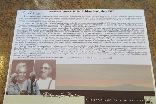 Chiriaco Summit Cafe: Some history of the family...