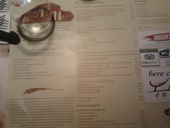 Genzano di Roma, Italien: La tovaglietta-menù