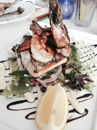 Panorama Restaurant and Bar: Barramundi and prawns on Greek salad