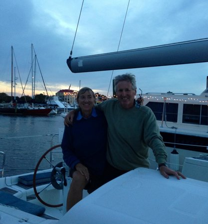 """Charleston Sail - Harbor Yacht Tours: Paul and Mary Joan aboard their """"new"""" Benneteau yacht. We had a blast together."""