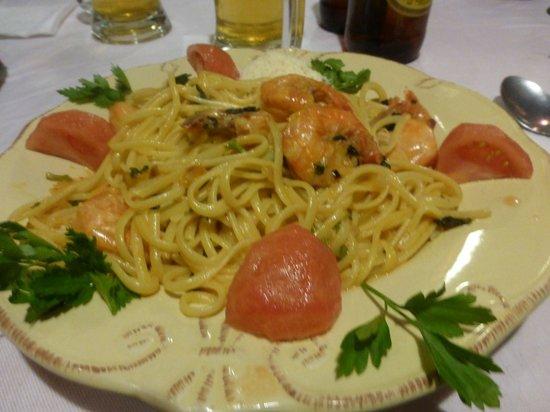 Hotel Mariane: Spaghetti mit Shrimps
